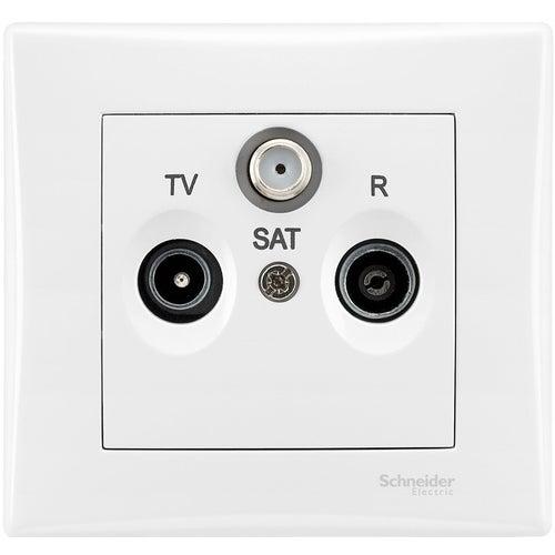 Schneider Sedna biały gniazdo R-TV-SAT przelotowe