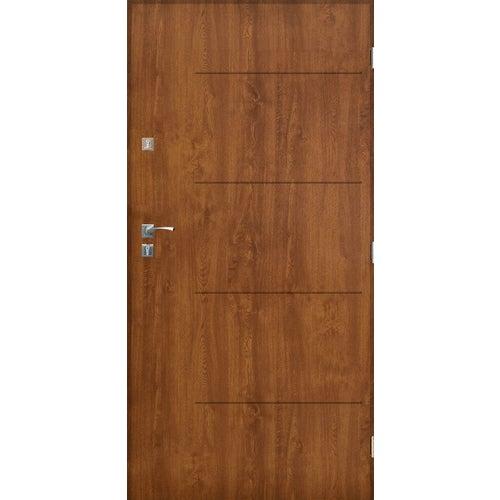 Drzwi zewnętrzne pełne Lublin 80 cm prawe złoty dąb