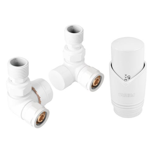 Zestaw termostatyczny osiowy z głowicą i zaworem powrotnym, biały