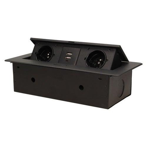 Gniazdo meblowe wpuszczane podwójne z uziemieniem z ładowarką USB czarne