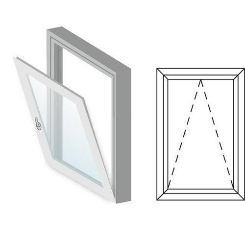 Okno fasadowe 2-szybowe  PCV O4 uchylne jednoskrzydłowe 565x835 mm białe