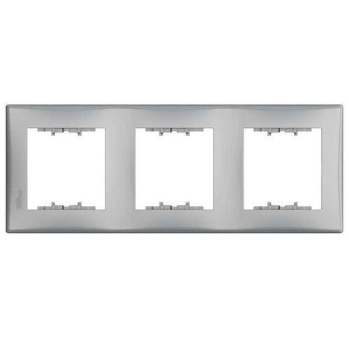 Schneider Sedna aluminium ramka potrójna pionowa