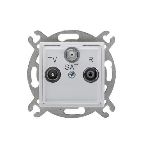 Polmark Rosa biały gniazdo antenowe RTV-SAT końcowe