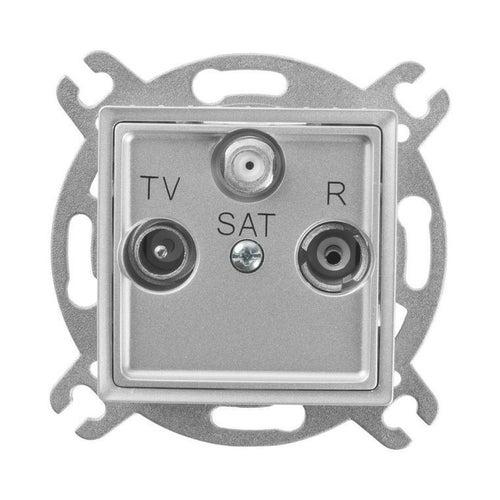 Polmark Rosa srebrny metalik gniazdo antenowe R-TV-SAT przelotowe