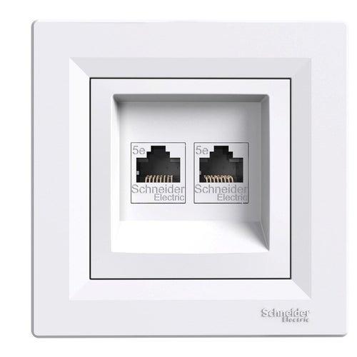 Schneider Asfora biały gniazdo komputerowe 2xRJ45 kat 5