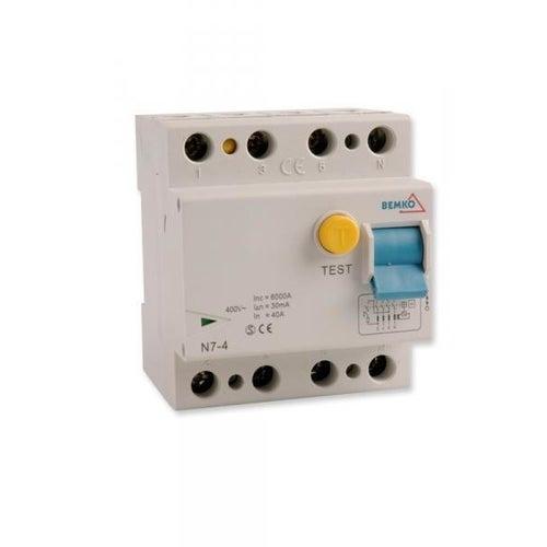 Wyłącznik różnicowoprądowy 4P 25A 30mA AC A05-N7-4-25-0 Bemko
