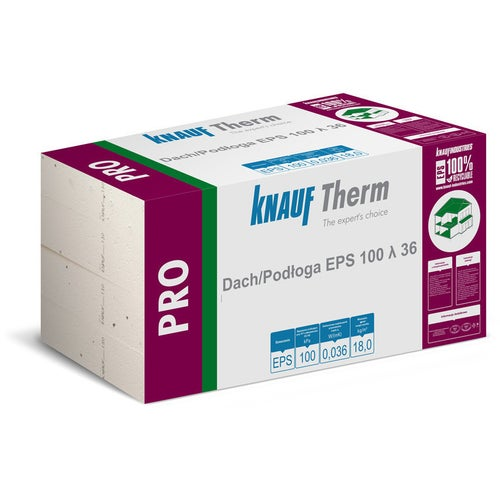 Styropian Knauf Therm Pro Dach/Podłoga 10 cm EPS 100 kPa 0,036 W/(mK) 3 m2