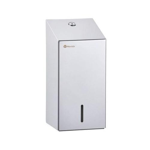 Pojemnik na papier toaletowy w listkach Merida Stella, poj. do 400 szt. listków , stal polerowany, BSM401