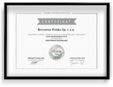 Certyfikat Odkrycie roku